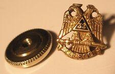 Toledo 32 Degree Scottish Rite Free Masonry SMALL Vintage Screw Back Lapel Pin