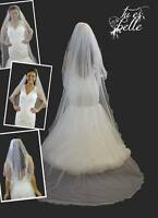 Ivory/White 2 Tier Cathedral Veil Curly Rattail Edge Long Wedding Bridal