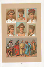 VINTAGE FASHION COSTUME PRINT ~ RUSSIA 1880s SLAVES & SIBERIANS HATS HEADDRESSES
