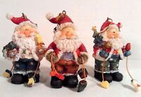 3 SANTA CHRISTMAS ORNAMENTS FIGURINES NEW HOLIDAY DECOR FOR YOUR TREE