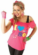 Adult I Love The 80s T-shirt Ladies Fancy Dress Costume Party Accessory Small
