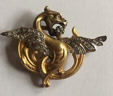 Antique Platinum Diamond French 18ct Gold Griffin Brooch