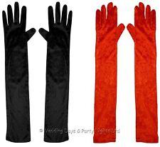 Long Velvet Elbow Length Evening Gloves 20s Flapper Ladies Christmas Fancy Dress