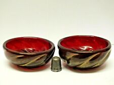Two Archimede Seguso Small Murano Glass Salt Bowls Decorated with Powdered Gold