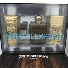 True Religion Original COLOGNE Men 4pc SET 3.4oz + Mini Spr+ Deo + B/W -RARE-(WH