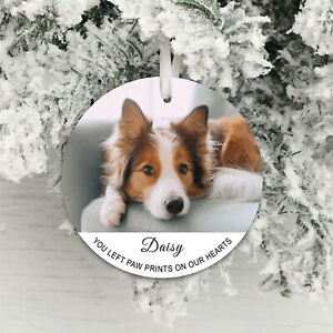 Personalised Photo Xmas Hanging Paw Prints on our hearts Pet Memorial Dog Cat