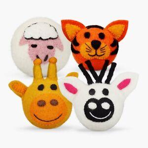 4 Set Felted Dog Ball Toy Eco-Friendly 100% New-Zealand Merino Wool, Handmade