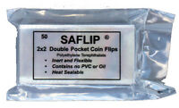 Plastic Coin Holders Sleeves Flips Saflip SAFLIPS 2x2 Mylar 50 Pack Free US Post