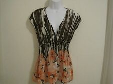 Bay Studio Career  Sheer Top Size Small in Brown & Peach Floral