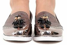 New Womens Low Wedge Heel Slip On Shimmer Tassled Metallic Hue Brogue Loafers
