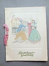 VINTAGE Christmas Card 1930s Regency Crinoline Ladies Posting a Letter In Town