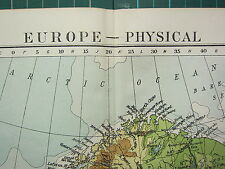 1919 LARGE MAP ~ EUROPE PHYSICAL ~ BRITISH ISLES GERMANY MEAN ANNUAL RAINFALL