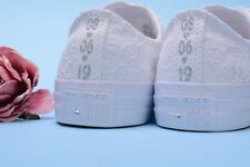 Personalized White Wedding Converse Shoe For Bride, Lace Bridal Sneakers