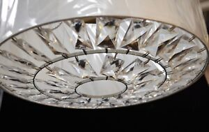 Large Taffeta Ivory White Pendant With Acrylic Crystal Diffuser High End Item
