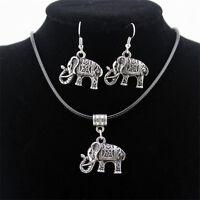 Vintage Elephant Jewelry Set Thai Silver Necklace Hook Earrings Charm Pendant