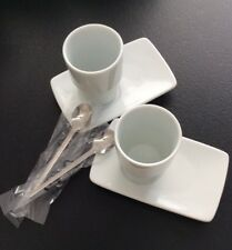 OVP LEONARDO Solo Espresso-Becher-Set 6-teilig weiß Porzellan + Espresso-Löffel