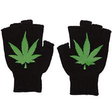 Marijuana Leaves Gloves Reifer Fingerless Knit Black Phone Texting Warm Weed