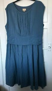 Lindy Bop Blue Cap Sleeve A Line Flare Pintuck Dress UK Plus Size 24