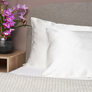 100% Pure Mulberry Silk Pillowcase with Cotton Underside - 19 Momme Ivory White