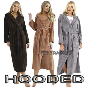 WOMENS LADIES DRESSING GOWN hooded fleece fashion NEW LONG LENGTH