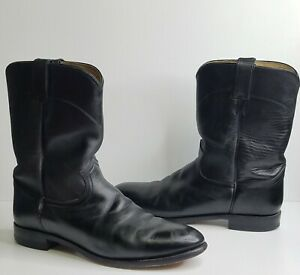 Justin Jackson Roper Classic Black Leather Cowboy Western Boots Mens Size 12 D