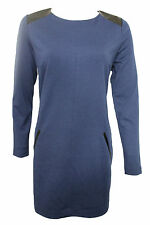 Chic Banana Republic Women Blue Long Sleeves Elegant Dress Faux Leather Size 8