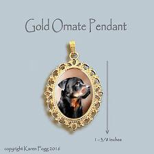 Rottweiler Dog - Ornate Gold Pendant Necklace