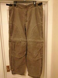 kuhl trousers L waist 30 leg zip off faded olive/grey