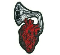 Gramophone Heart Iron-On Patch : Anatomical Record Player Music Lover Phonograph