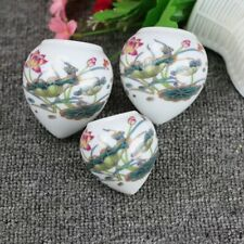 1set 3pcs Asian Bamboo Bird Cage white porcelain Lotus cups 鸟食�