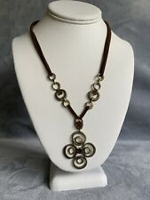 Xc Gold Tone Brown Pendant Necklace #1140