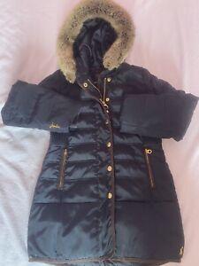 Joules Girls Quilted Down Coat Age 7-8 Navy Fur Hood Great School Coat! VGC