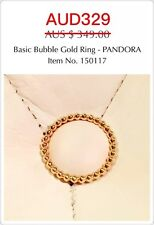 Brand New Genuine Pandora 14ct Gold Basic Bubble Ring, 150117, Size 58.