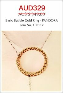 Brand New Genuine Pandora 14ct Gold Basic Bubble Ring, 150117, Size 58.