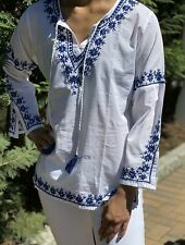 Womens 100% Cotton Embroidered Bell Sleeve Bohemian Embroidered Tunic~Blouse~Top