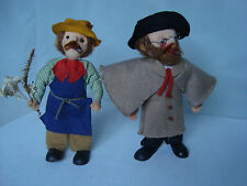 2 VINTAGE HAND MADE CLOTH RAG DOLLS DOLL 7inches