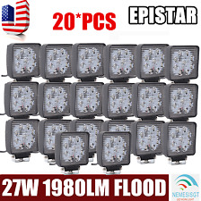 20pcs 27W LED Work Light Bar Flood Square 4WD Offroad ATV Jeep 12V 24V Lamp