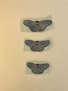 Embroidery applique butterfly/moth on tulle set of 3 in light blue and pink.