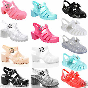 GIRLS CHILDREN JELLY SANDALS CHUNKY BLOCK HEEL RETRO GLADIATOR SUMMER BEACH SHOE