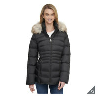 ANDREW MARC Women's Short Down Jacket with Faux Fur Trim Hood Black Small