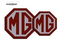 MG TF 09 Onward Emblem Badge Inserts Front Rear 70 & 90mm Burgundy Silver Badges