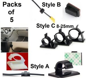 x5 Sticky Car Cable Tidy Organizer Clips Clamp Holder Desk Wire Tie Fix UK