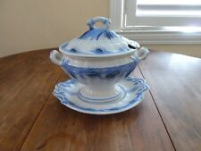 Staffordshire Ironstone Ceres Blue Wheat Elsmore & Forster Gravy Tureen + Tray