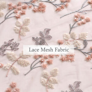 1m Flower Sequin Lace Mesh Sheer Fabric Dressmaking Curtains DIY Crafts Material