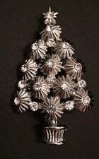 Silver Background With Clear Crystals Christmas Tree Brooch Pin