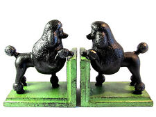 Poodle Bookends - Cast Iron Aged Appearance Black Dog
