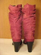 Red Leather and Suede Calf High Scrunched Riding Boots - Size 12
