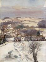 SNOWY WINTER LANDSCAPE Watercolour Painting M F LITTLEWOOD 1951