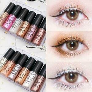 6pc/Set Metallic Glitter Pink Lidschatten Liquid Eyeliner Festival Make-up E7L4