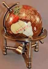 Multi-Gemstone 90mm Desktop Globe in Brown / Copper Pearl - Pewter Tone Base